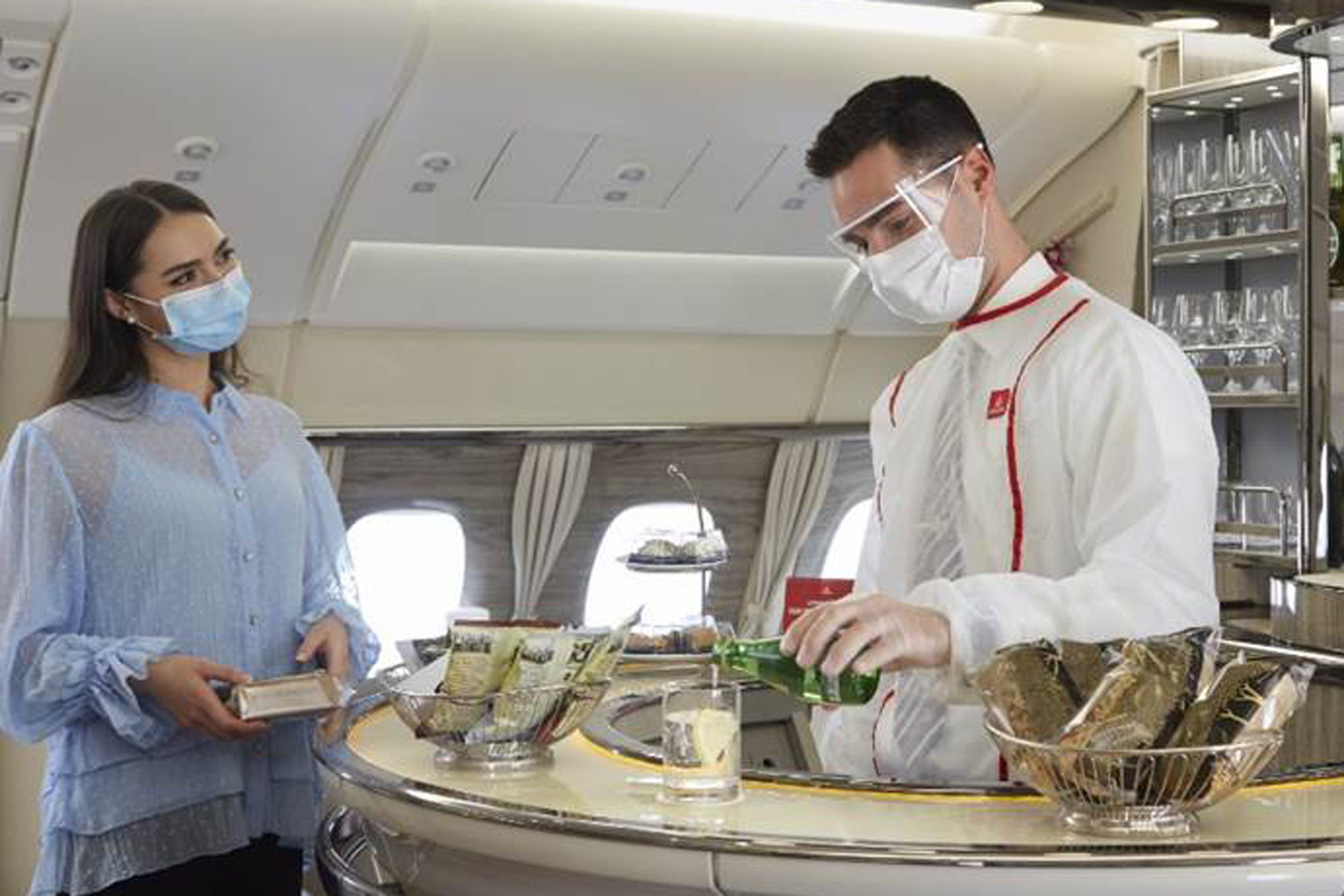 Emirates' premium passengers' bar has re-opened for takeaway drinks