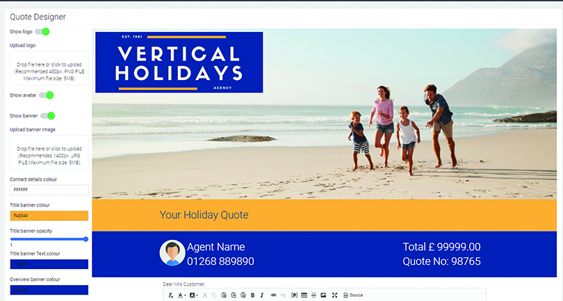 Vertical Systems' Quote Builder can be personalised with elements including imagery and agent logos