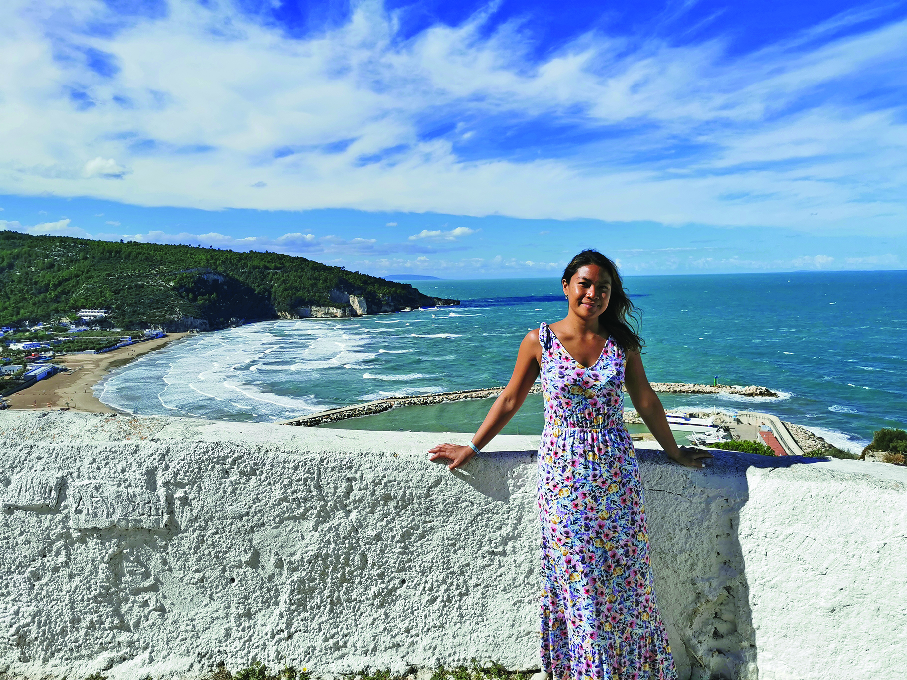 Writer Mary Ann in Peschici, which overlooks the Adriatic Sea