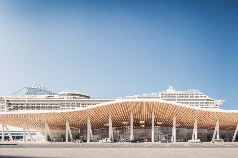 The terminal, built in partnership with MSC and NCL, will feature roof-mounted solar power and shore power connectivity