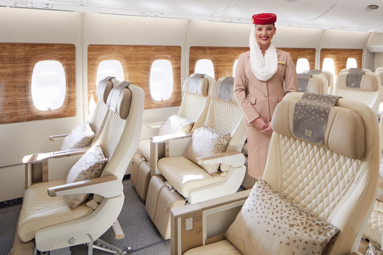Emirates unveils A380 premium economy cabin