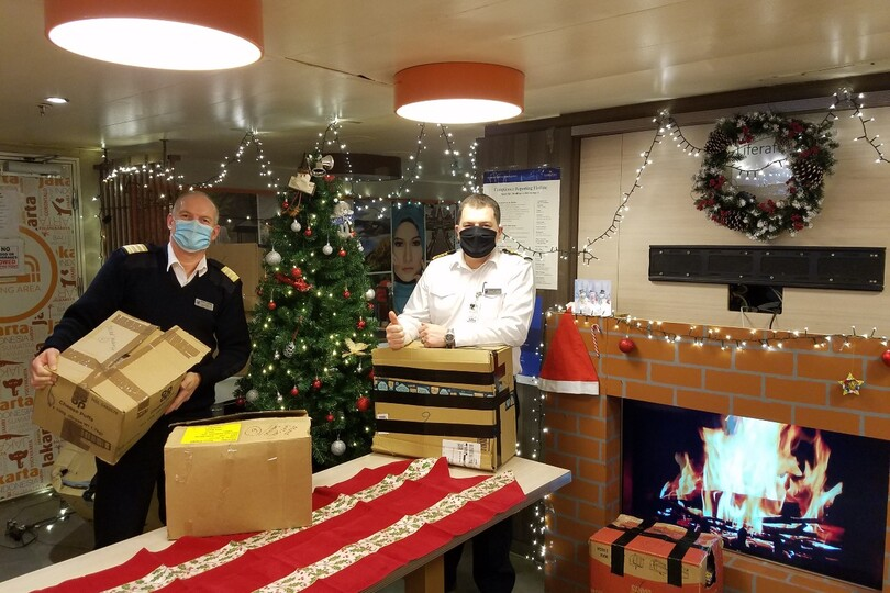 Holland America crew away at Christmas receive festive donations