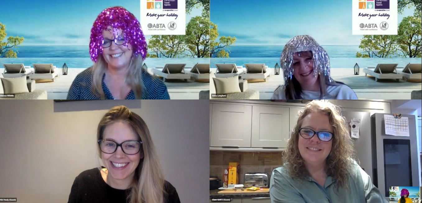 The Personal Travel Agents' Sheena Whittle and Anna Langford in their Wigs Of Wonder with TTG's Abigail Healy and Gold Medal's Clare Weatherall