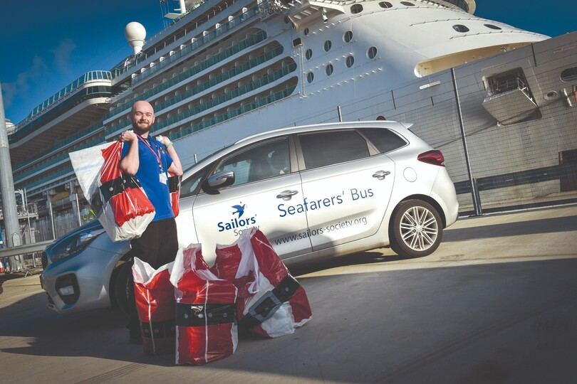 Sailors' Society's Simon Mobsby delivers gifts to cruise crew at Christmas