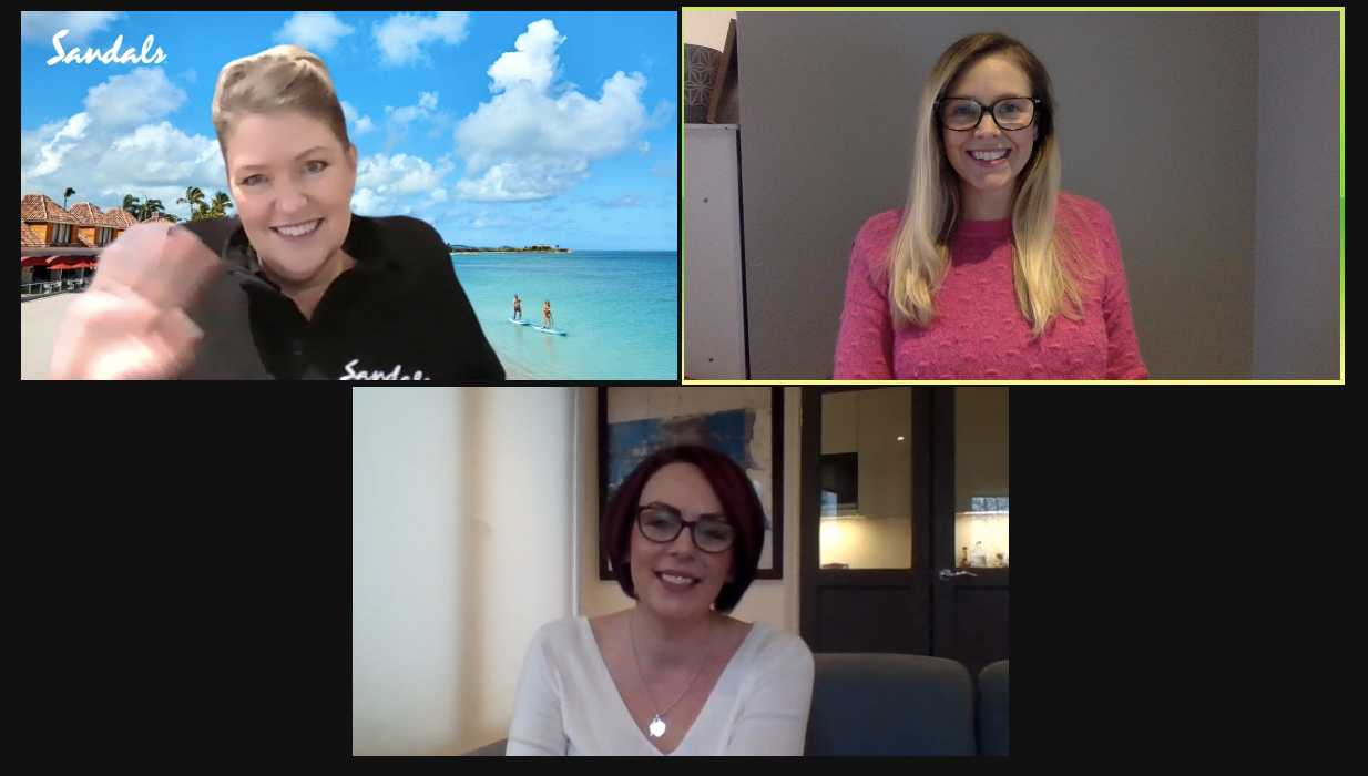 Britt-Marie Monks, The Honeymoon Fixer, with TTG's Abigail Healy and Sandals' Leah Marshall