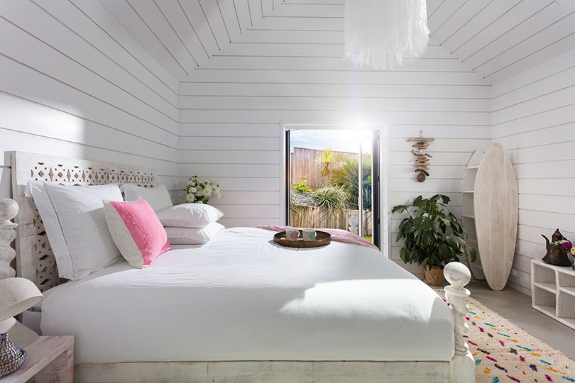Bedroom at one of the Three Mile Beach houses