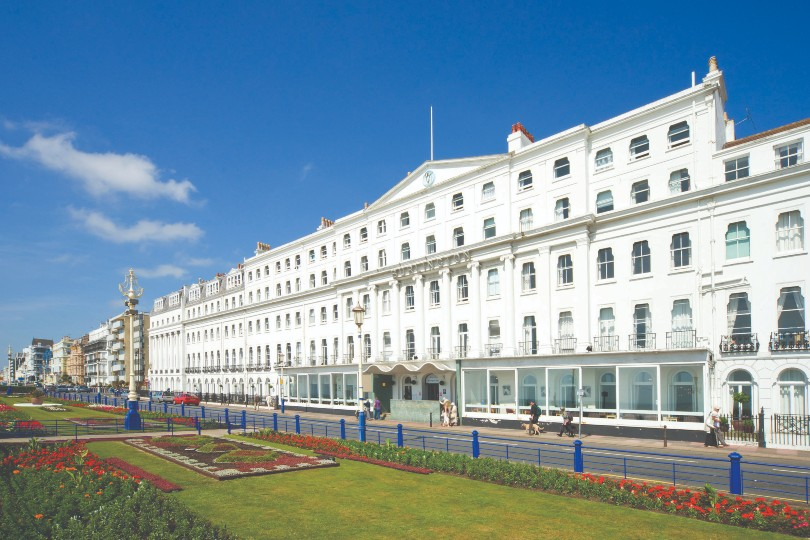 Accommodation options include the Burlington Hotel in Eastbourne (Credit: Shearings)