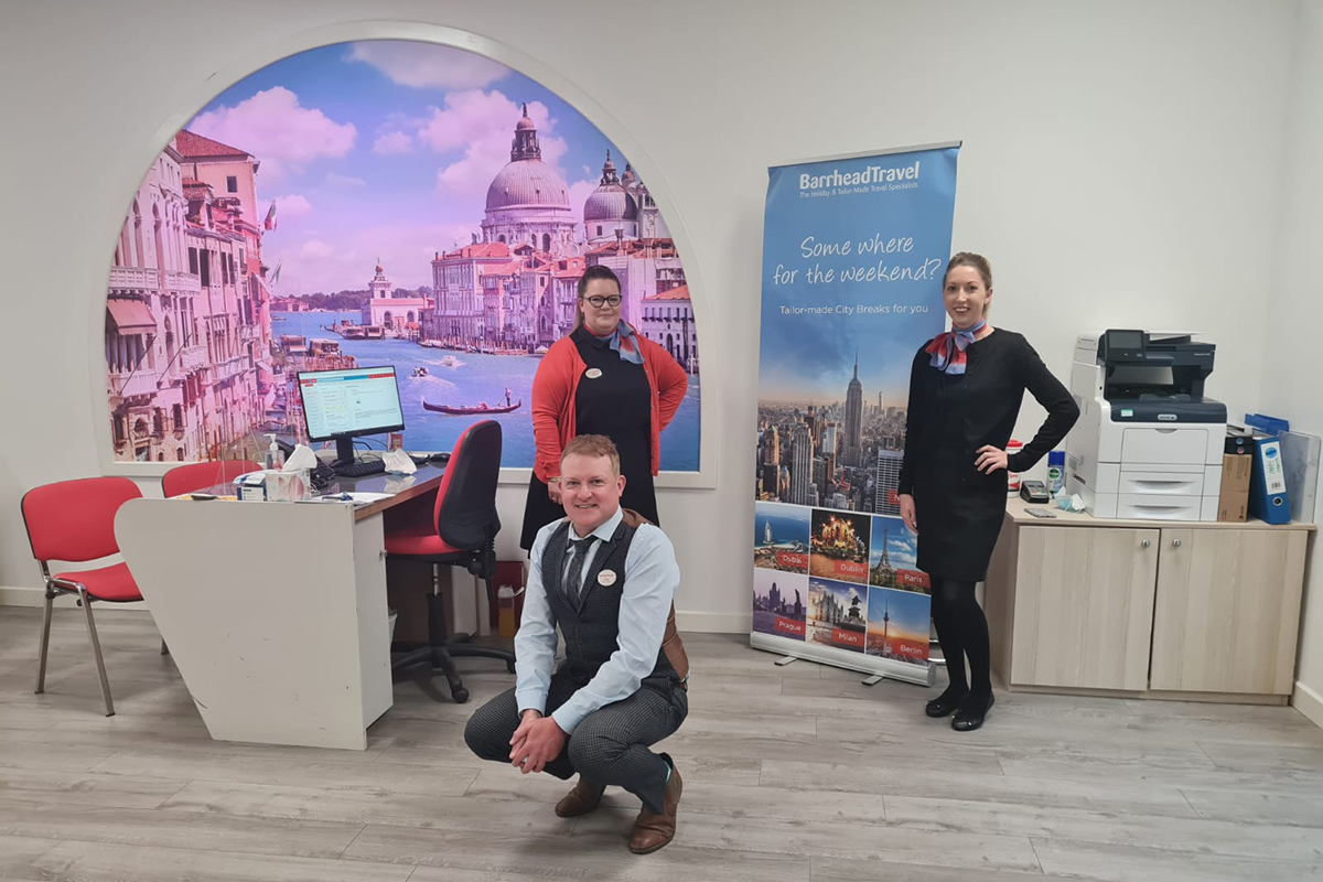 Store manager Victoria Dodds and her team have returned to Barrhead Travel's Edinburgh Cameron Toll branch