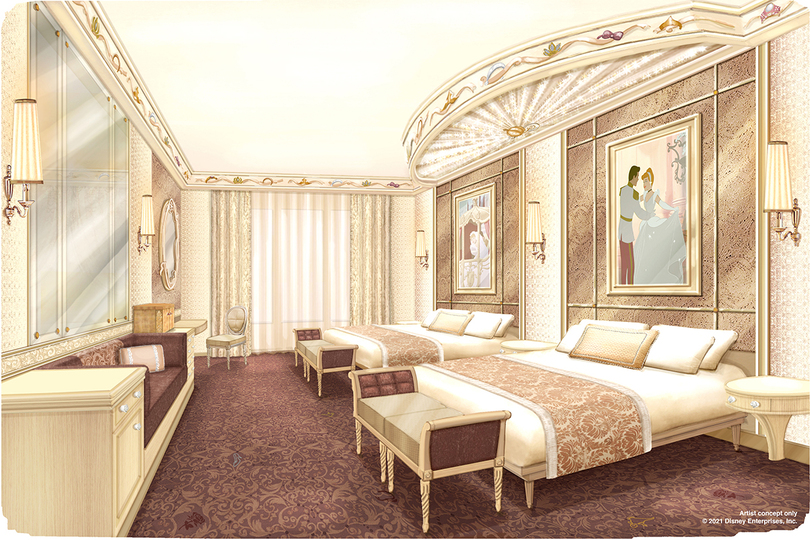 A proposed design for a bedroom at the refurbished Disneyland Hotel