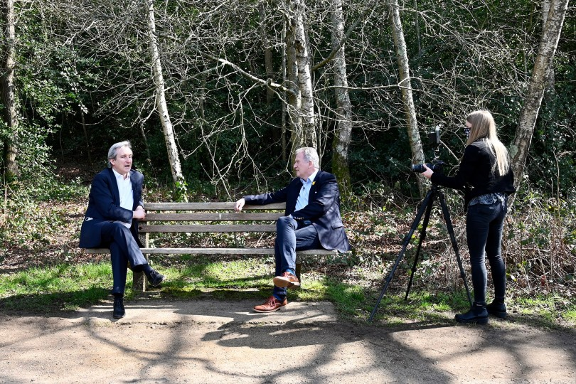 Meon Valley owner James Beagrie (right) sat down with local MP Damian Hinds (left)
