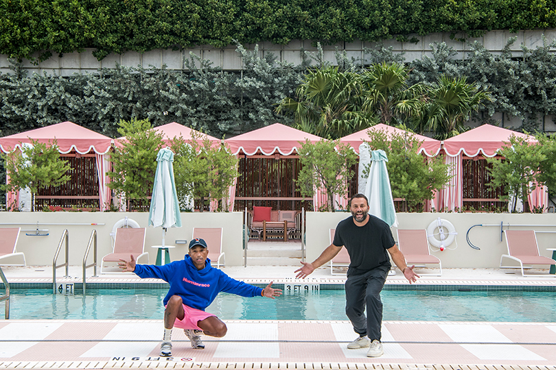 Pharrell Williams and David Grutman at their new hotel
