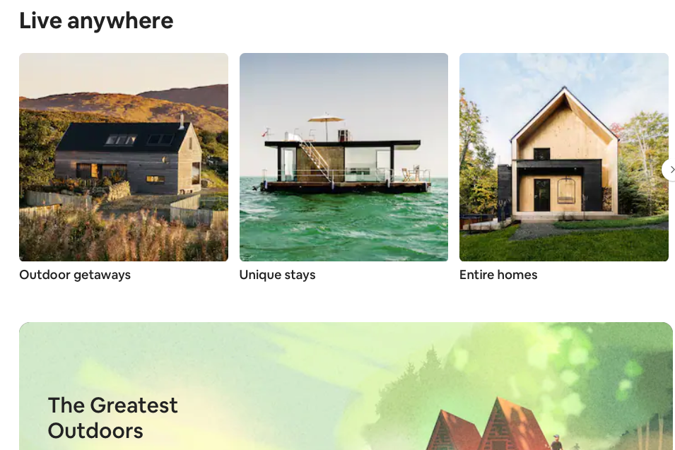 Airbnb is promoting the 'work anywhere' concept on its website