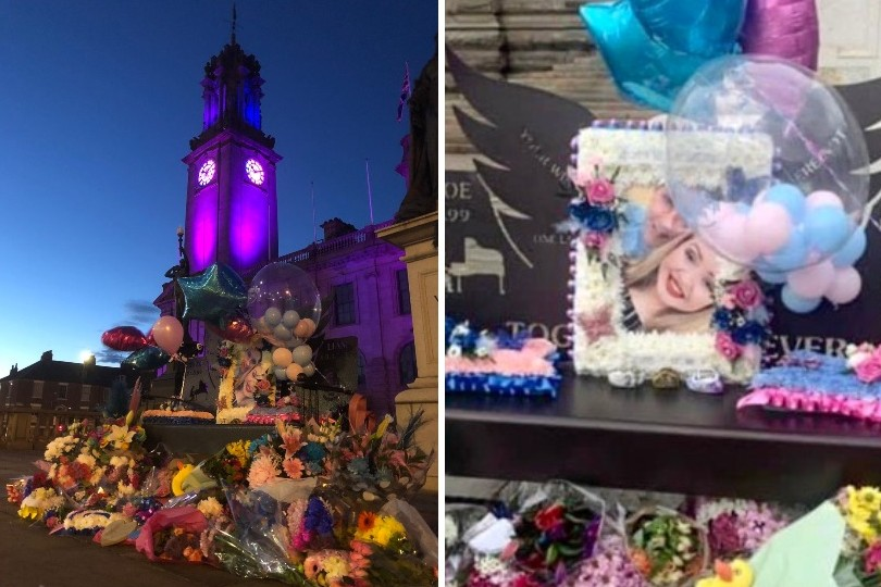 South Shields town hall was lit up in the Chloe and Liam Together Forever Trust's colours