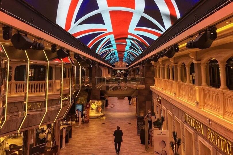MSC Virtuosa's Galleria promenade shines a Union Jack to celebrate its Southampton inaugural