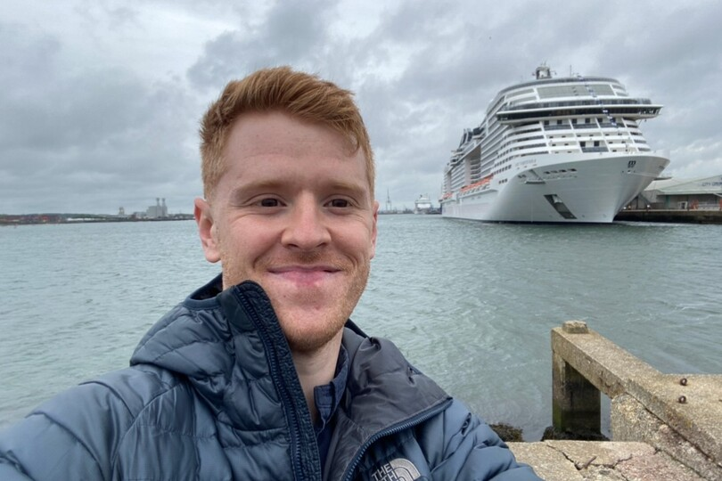 Tom alongside Virtuosa after arriving in Southampton