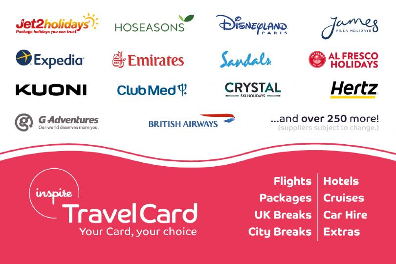 Inspire's Travel Card allows holders to buy a range of travel products