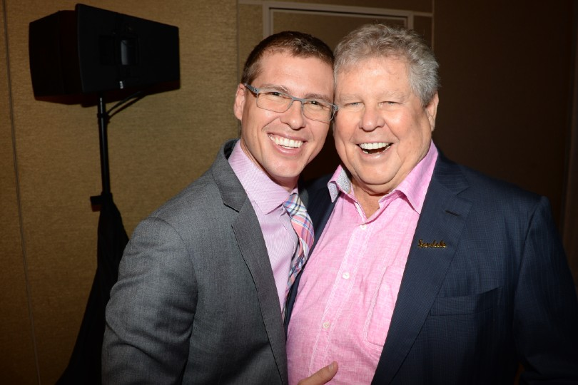 Adam Stewart (left) with his late father Butch Stewart (Credit: Sandals)
