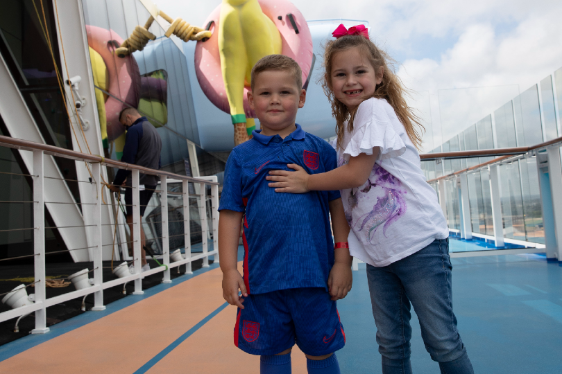 Mia and William explore Anthem of the Seas, they are onboard with mum, Leigh, a phlebotomist at Penbury Hospital