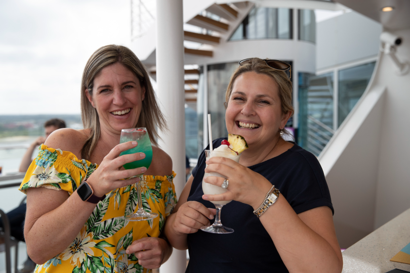 Michelle, children's oncology nurse at Basildon Hospital, and Gail, head of Patient Safety at Colchester Hospital, celebrate their cruise