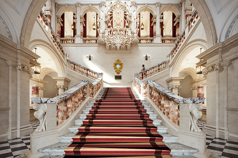 The grand staircase of Raffles London at The OWO