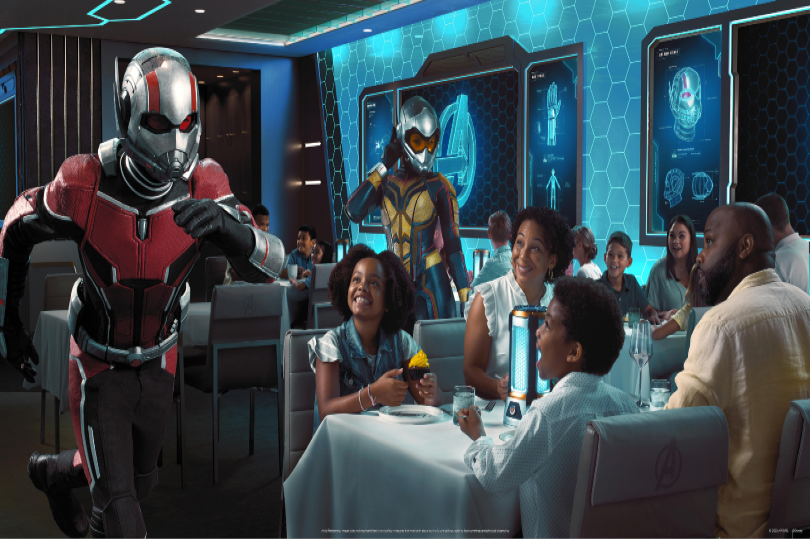 """""""Avengers: Quantum Encounter"""" will debut at Worlds of Marvel restaurant onboard Disney Wish in summer 2022"""