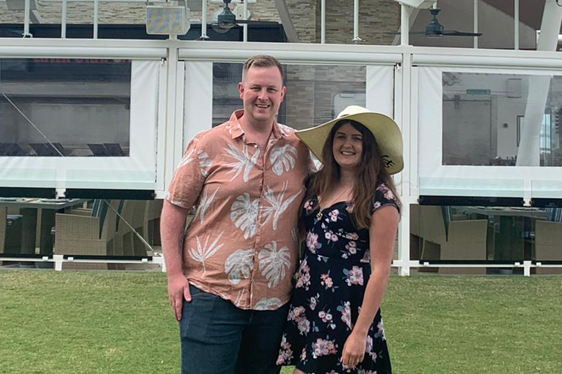 Natasha and Marc celebrating their honeymoon at The Lawn Club onboard Celebrity Silhouette
