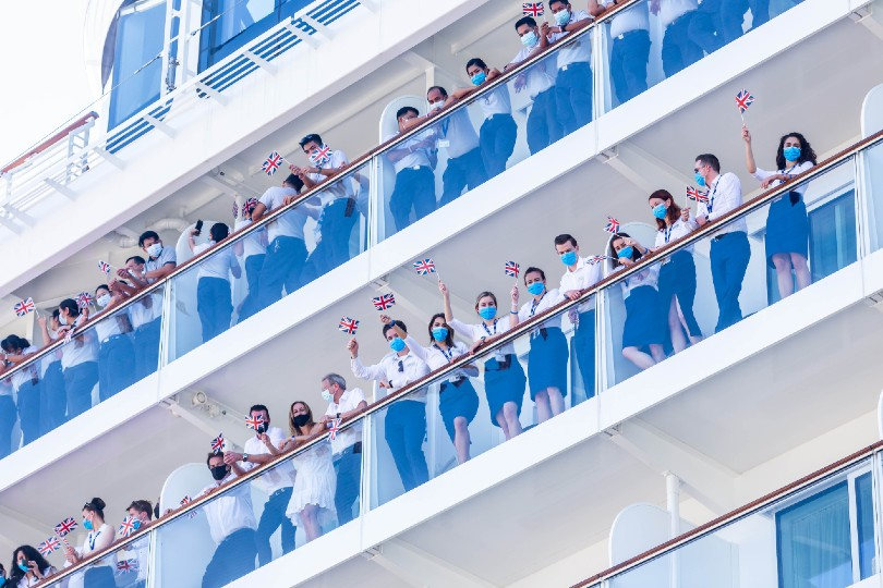 The ship's crew were on hand to mark the moment the jeroboam crashed into the ship's hull (Credit: Saga Cruises)