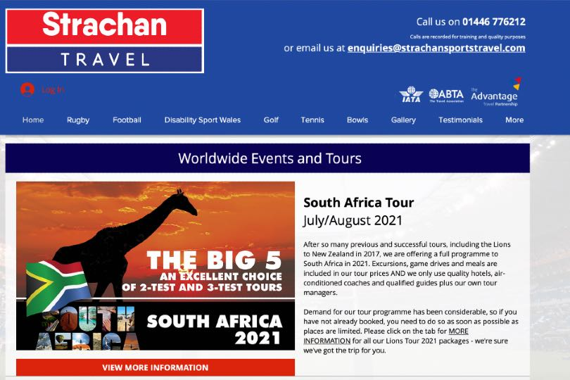 Sam Smith Travel also operated Strachan Sports Travel which organised trips to see the British & Irish Lions rugby team