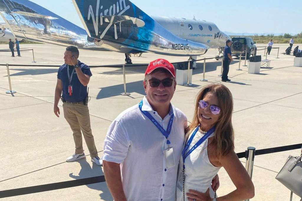 Virgin Voyages chief Tom McAlpin and his wife, Yvonne in New Mexico to watch Virgin Galactic